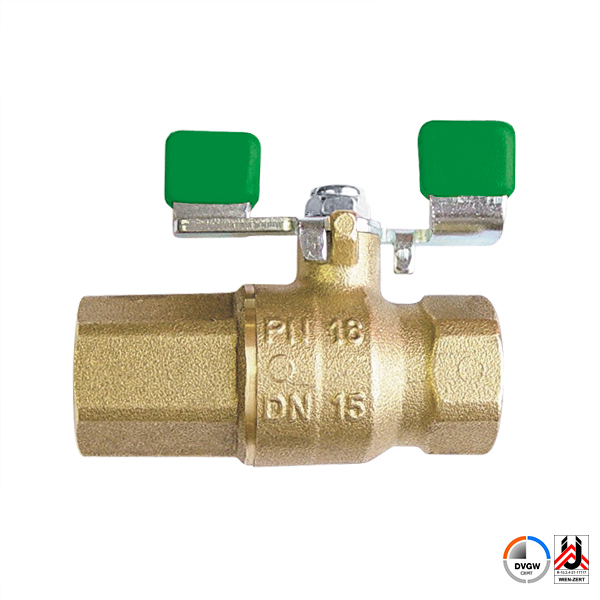 Ball valve with t-handle and backflow preventer, PN 16