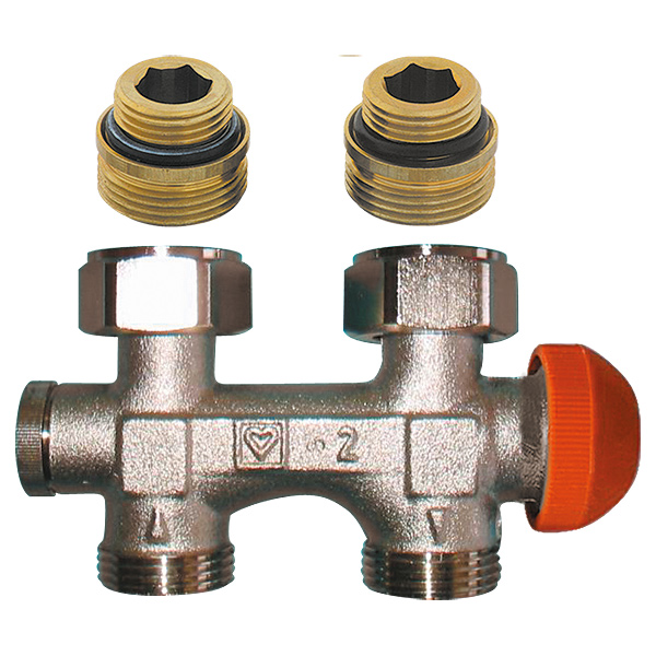 HERZ-3000 connection part with pre-settable upper thermostatic insert, straight model for two-pipe operation