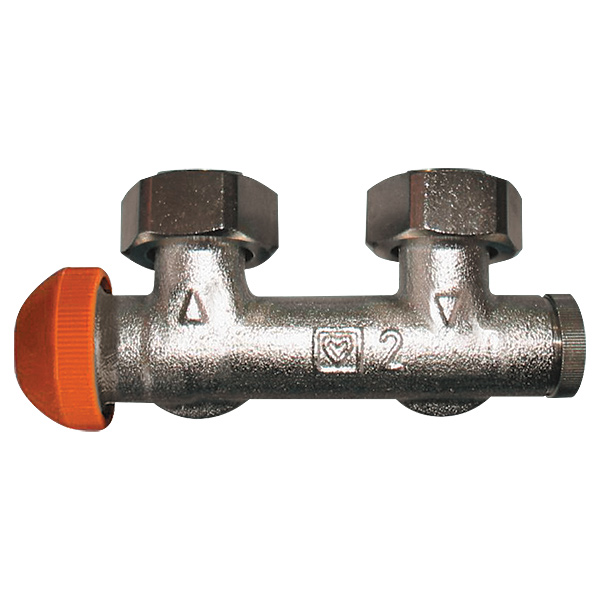 HERZ-3000 connection part with pre-settable upper thermostatic insert, angle model for two-pipe operation