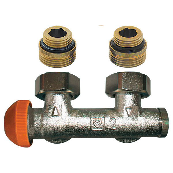 HERZ-3000 connection part with pre-settable thermostatic valve, angle model for two-pipe operation