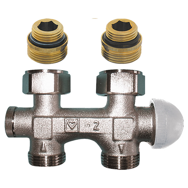 HERZ-3000 connection part with integrated thermostatic valve, straight model for two-pipe operation, pre-settable