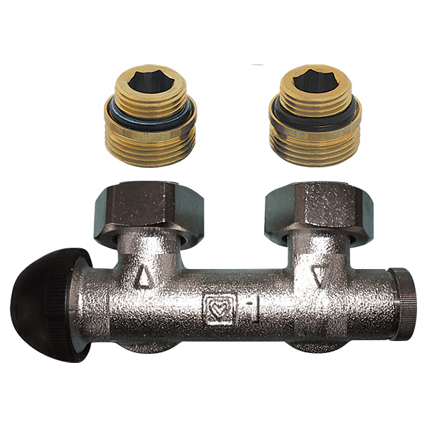 HERZ-3000 connection part with integrated thermostatic valve, angle model for one-pipe operation