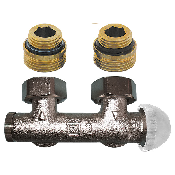 HERZ-3000 connection part with integrated thermostatic valve, angle model for two-pipe operation, pre-settable