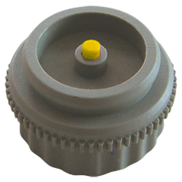 Adapter for HERZ actuating drive, colour dust grey, tappet yellow