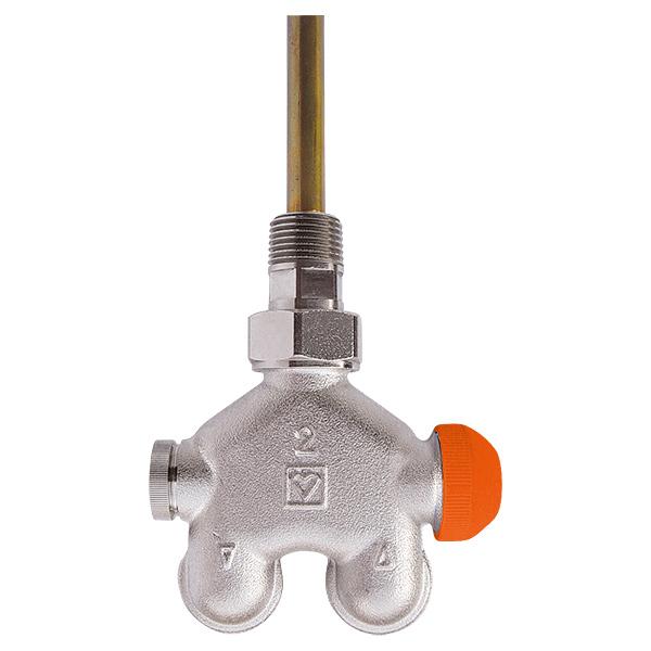 HERZ-VUA-40-Vierwegeventil, Eckform für Zweirohranlagen mit voreinstellbarem Thermostatoberteil
