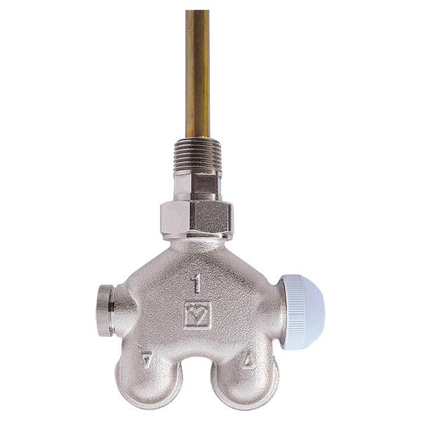 HERZ-VUA-40-Vierwegeventil, Eckform für Einrohranlagen