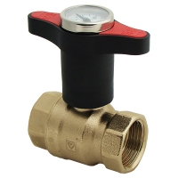 Ball valve with extended T-handle with thermometer, red, PN 25
