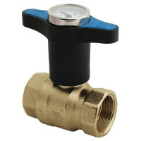 Ball valve with extended T-handle with thermometer, blue, PN 25