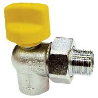 Kugelhahn für Geräteanschluß mit Kunststoffgriff, Eckausführung