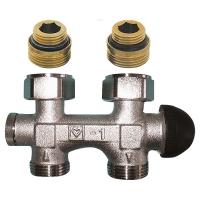HERZ-3000-Bypasskörper mit integriertem Thermostatventil, Durchgangsform für Einrohrbetrieb