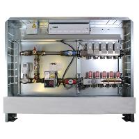 Anschlußfertige Regelstation 230 V, 50 Hz für Fußbodenheizung, Anschluss links, bestehend aus