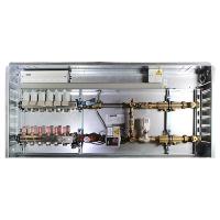 Anschlussfertige Regelstation 230 V, 50 Hz für Fußbodenheizung und zusätzlich 2 Radiatorkreisen, Anschluss rechts, bestehend aus